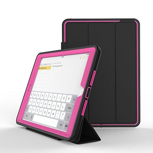 Yoomer Schutzhülle für iPad Air, dreilagig, robust, mit magnetischer Auto-Sleep-/Wake-up-Funktion, Hybrid-Leder-Ständer, 24,6 cm (9,7 Zoll), Rose Hybrid Fusion Protector