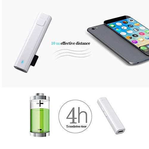 XXHDYR Übersetzungsgerät-Übersetzer 26 Sprachübersetzer-Headset Bluetooth-Sprachübersetzer Bluetooth-Empfänger Business Voice (Color : White)