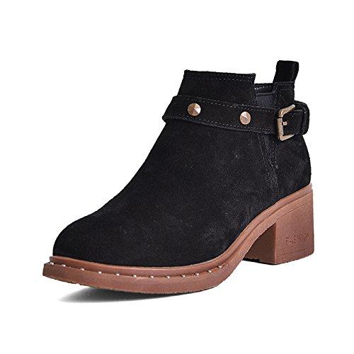 GTVERNH-kleine, kurze stiefel, frauen mit dickem stift herbst stiefel, die koreanische edition schnalle schnalle, matte mit stiefeln weiblich,36,schwarz (Racing-schwimmen-kurze)