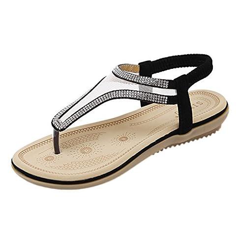 Oasap Women's Bohemia Slingback Rhinestone Thong Sandals, Black EURO39/US8/UK6