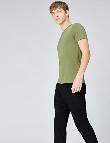 FIND T-Shirt Herren mit Rundem Ausschnitt, 2er-Pack Mehrfarbig (Black X1, Army Green X1)