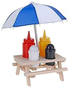 6-tlg. Picknicktisch Menage SET – Senf & Ketchup Ständer und Salzstreuer & Pfefferstreuer – mit Sonnenschirm – Grillzubehör – Salz Pfeffer Streuer – Grillparty