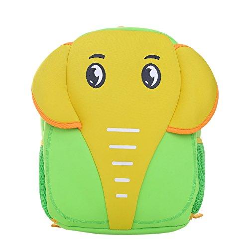 DonDon Zaino per bambini unisex con elefante verde giallo 33 x 26 x 13 cm