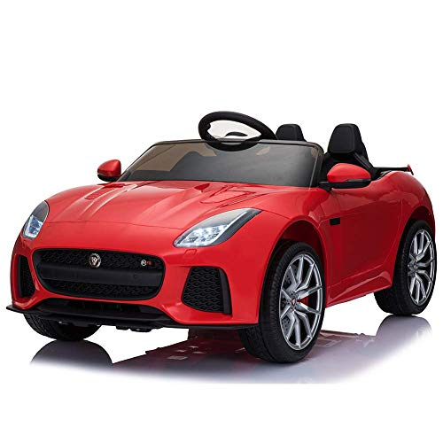 BAKAJI Auto Elettrica Bambini Jaguar F-Type 12V con Doppio Sedile in Pelle Fari a LED Radio FM MP3 USB SD e Telecomando (Rosso)
