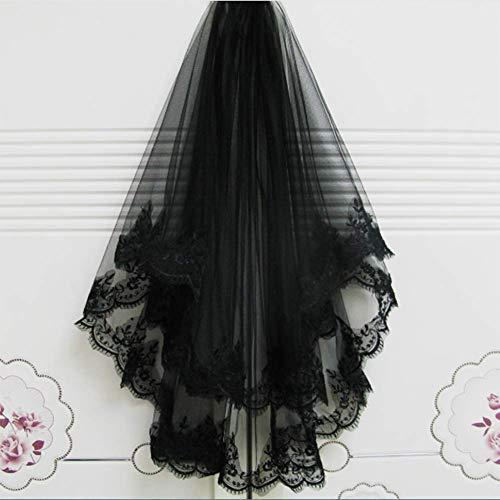 Merry Angel Halloween-Haar-Hexe-schwarzer Kamm-Schleier-Anime-Schwarz-Wimpern-Spitze-Schleier-Hochzeits-Kleid (Zwei Schichten mit Kamm)