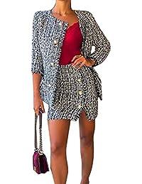 736ecdb779520 Loalirando Tailleur Femme Ensemble Jupe et Veste Costume Sexy Chic Fashion  Manches Longues pour Soirée
