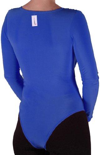 Eyecatch TM - Frauen V-Ausschnitt Langarm Gold-Gurtel Bodysuit Stretch Damen Gymnastikanzug Top Konigsblau