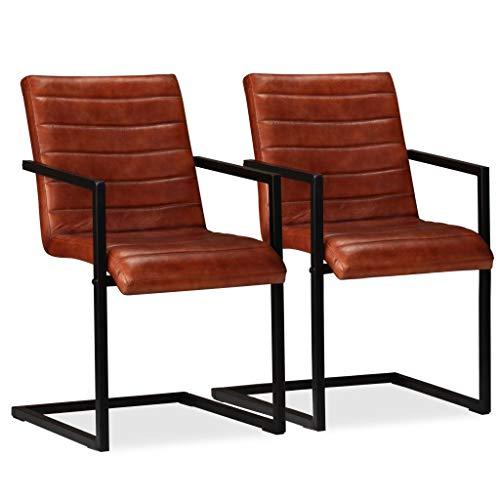 Festnight- 2er Set Echtleder Esszimmerstühle mit Stahlrahmen | Polsterstuhl Schwingstuhl Essstuhl Küchenstuhl 51 x 56 x 91 cm Braun