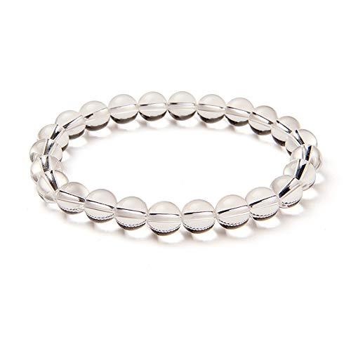 SUNNYCLUE Echte weiß Kristall klar Rock Quarz Edelstein Armband Stretch Perlen rund 8 mm über 7