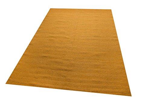 Parwis Kelim Uni, 70x140cm, gold, Orient Wohnzimmer Teppich, handgewebt, Wolle