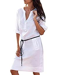 Gaddrt Womens Dress Maxi Casual Half Sleeve Buttons V Neck Slim with Pocket Shirt Dresses