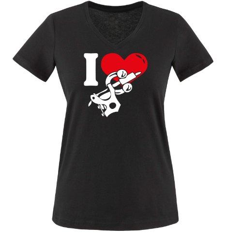 I LOVE TATTOO - Zweifarbig - Damen V-Neck T-Shirt - Schwarz/Weiss-Rot Gr. S