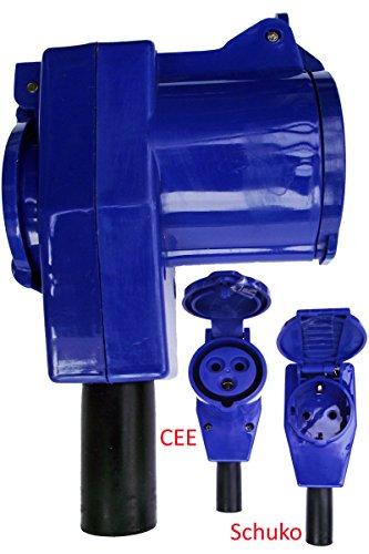 CEE-Winkelkupplung auf Schuko 230V / 16A ideal für Caravan, Wohnmobile und Boote zur Selbstmontage
