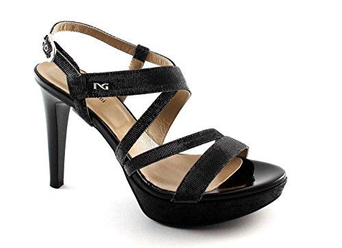 BLACK GARDENS 17890 Schwarze Frauen Schuhe Ferse Glitzern elegante Sandalen Nero