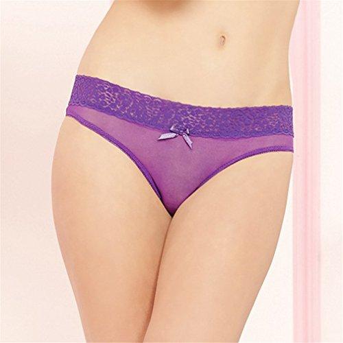 YayaZai Damen Tangas Slips Spitze Bikinislips Hipsters Violett