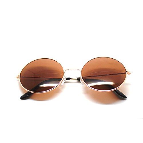 Ultra® cornice oro con marrone lenti adulti retrò tondo vecchio vintage occhiali da sole completo specchio lente John Lennon stile cercare qualità UV400 occhiali da sole unisex le donne degli uomini