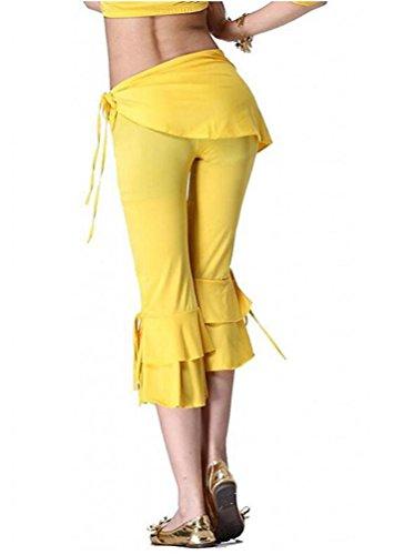 YuanDian Donna Estate Colore Solido Danza Del Ventre Orientale Pantaloni Costumi Slim Fit Bassa Vita Araba Belly Dance Tribal Capri Pantaloni Danza Abbigliamento Giallo