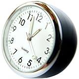mini Cockpituhr Autouhr analog Quarz Einbauuhr Aufbauuhr Einbauuhrwerk Modellbau Zeituhr Car Auto Clock Cockpit Uhr weißes Zifferblatt mit Ständer
