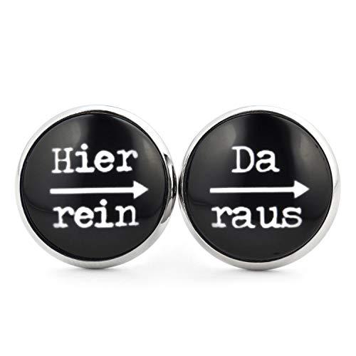SCHMUCKZUCKER Damen Ohrstecker Spruch Motiv Hier rein da raus Modeschmuck Ohrringe Silber-farben schwarz 14mm
