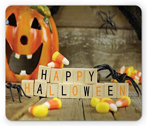 Happy Halloween Wooden Blocks with Candy Corns and Spiders Blurred Background, Standard Size Rectangle Non-Slip Rubber Mousepad, Multicolor ()