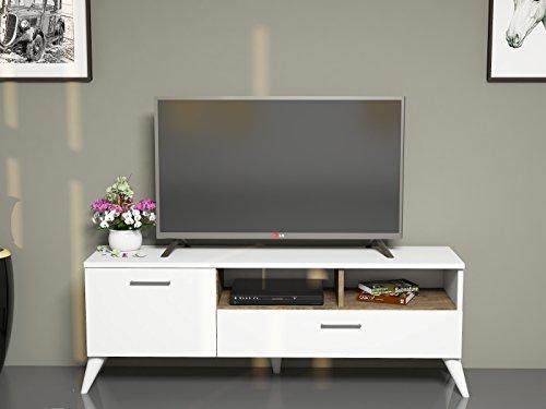 SINBA Meuble TV bas - Blanc / Noyer - Moderne Salon Ensemble de Meubles avec étagère murale au design élégant