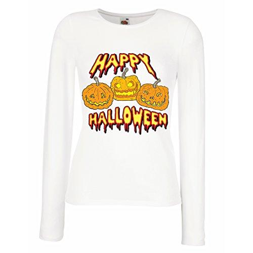 Weibliche Langen Ärmeln T-Shirt Happy Halloween! Party Outfits & Costume - Gift Idea (Medium Weiß Mehrfarben)