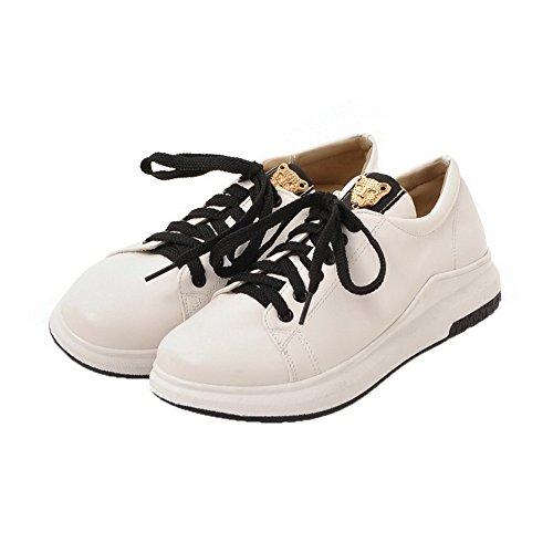 Blanc Unie Fermeture Non Talon Couleur Chaussures Agoolar Lacet 0qzxBvwP