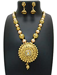 My Design Pearl Bridal Gold Plated Necklace Set For Women And Girls