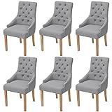 Festnight 6er-Set Esszimmerstuhl Essstuhl Eichenholzbeine Küchenstühle Esszimmerstühle Stuhlset Sitzgruppe Stoffpolster 52x60x95,5cm Hellgrau
