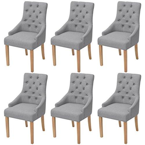 Festnight 6er-Set Esszimmerstuhl Essstuhl Eichenholzbeine Küchenstühle Esszimmerstühle Stuhlset Sitzgruppe Stoffpolster 52x60x95,5cm...