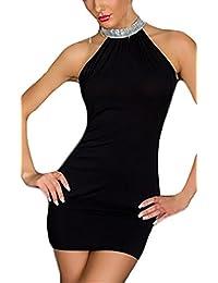 f6326c8f290e Vestiti Donna Eleganti Estivi da Cerimonia da Sera Festa Matita Abito Senza  Maniche Ll Collo Appendente Spalla Nuda…
