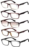 Amcedar Reading Glasses Women 5-pack Square Frame Metal Hinges Spring Includes 5-Cloth Pouch And Light Brown Sun Readers Glasses +2.50