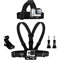 Wealpe Chest Mount Harness Head Strap Mount Compatible with GoPro Hero 7, Fusion, Hero (2018), 6, 5, 4, Session, 3+, 3, 2, 1, Xiaomi Yi Cameras