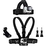 Wealpe Chest Mount Harness Kopfband Kopfgürtel Kopfbandhalterung Kompatibel mit GoPro Hero 7, Fusion, Hero (2018), 6, 5, 4, Session, 3+, 3, 2, 1, Xiaomi Yi Kameras