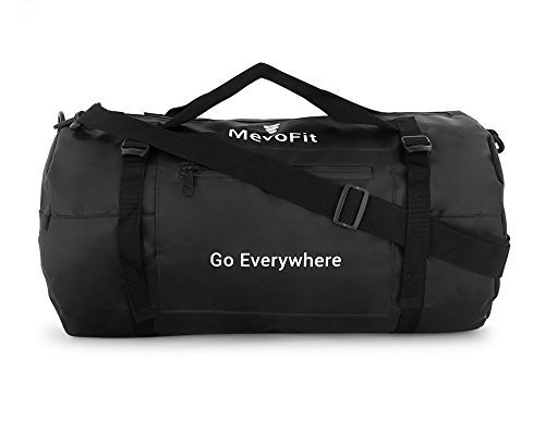 "MevoFit (USA) BODY FUEL - 'Go Everywhere' Gym Traveller Duffle Bag : GYM | TRAVEL | SPORTS | OUTDOOR for Men & Women - POLYPROPYLENE WATER PROOF BIG ""30 Litres"" with Dry Pockets for Mobile & Accessories - Dry Rugged Bag Lustrous (BLACK) by MevoFit"