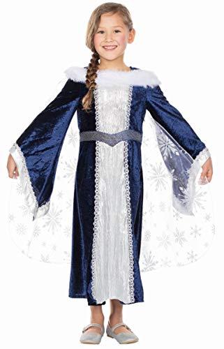 Mottoland Kinder Kostüm Burgfräulein blau-weiß Karneval Fasching Gr.116
