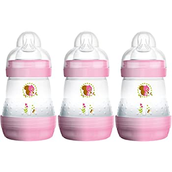 3 Pack MAM Newborn Baby Girl Anti-Colic Self Sterilising Bottle Set Pink