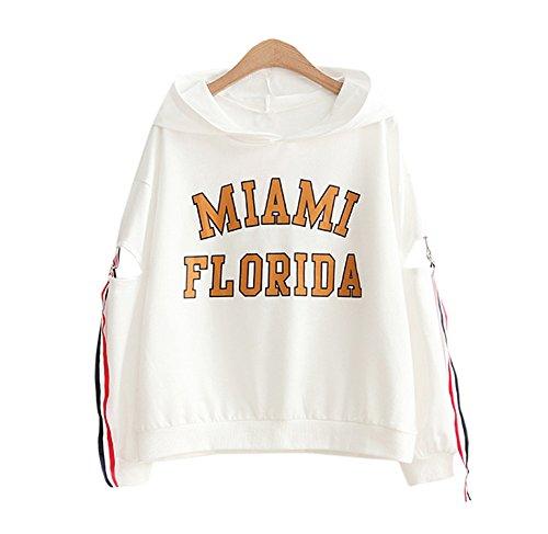 DaBag Damen Herbst Dünn Kapuzenpullover College Kawaii Sweatshirts Studentisch Pullover Langarm Sweater Lose T-shirts (One size, Weiß) -