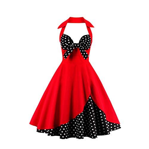 Zegeey Damen Rockabilly Partykleider äRmellose Schulterfrei Plaid Drucken UnregelmäßIgen Kleid Cosplay Ballkleid(W4-Rot,EU-46/CN-4XL)