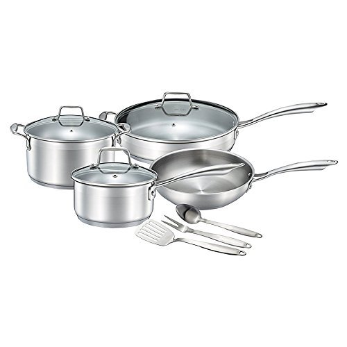 Chefs Star Professional Grade Stainless Steel 10 Piece Pots & Pans Set - Induction Ready Cookware Set With Impact-Bonded Technology