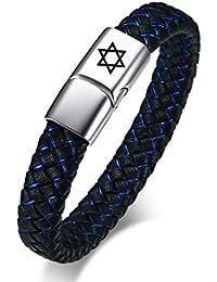 Vnox Hombres de Acero Inoxidable de Cuero Genuino Estrella de David Cuff Pulsera Brazalete Negro Azul,21cm