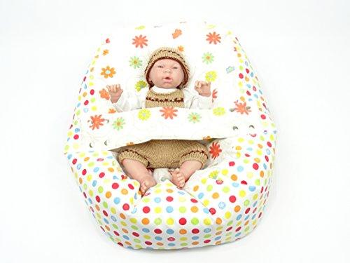 Baby Liegekissen, Lagerungskissen, Alternative zur Babywippe und Babyliege, auch als Sitzsack für Kinder einsetzbar (Bunte Blumen)