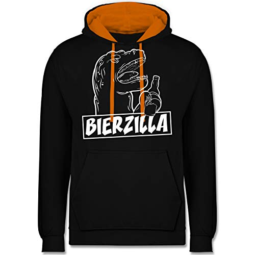 (Halloween - Bierzilla - XL - Schwarz/Orange - JH003 - Kontrast Hoodie)