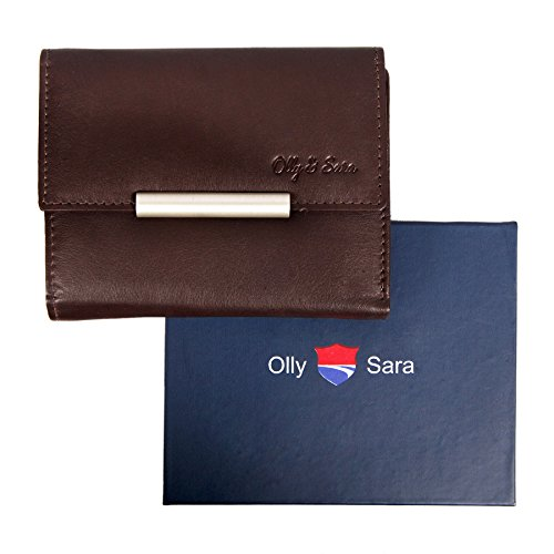 Olly & Sara Ladies Womens Leather Credit Card Wallet Purse Clutch Zipper bag Soft Coins Fashion Brown