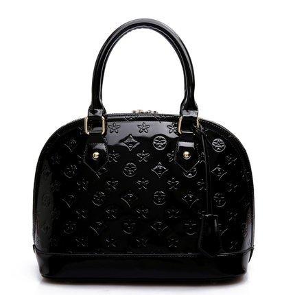 AoBao Ms. pacchetti di trasporto nuovo pacchetto femmina cuoio verniciato lady borsa pacchetto conchiglia piccola borsa donna borse a tracolla (medie :22cm26cm13cm), mini bare di polvere di metallo Grande Nero