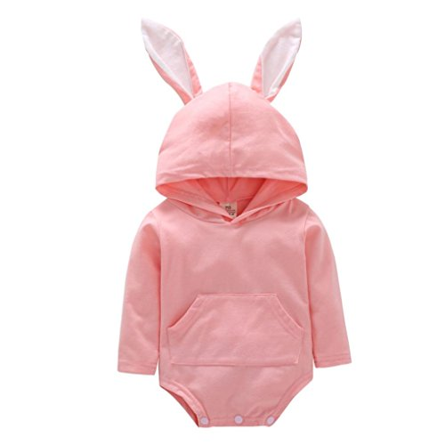 Monos Beb¨¦,JiaMeng Reci¨¦n Nacido Infantil Beb¨¦ Ni?o Dibujos Animados Oreja de Conejo con Capucha Mameluco Trajes de Mono(Rosado,18M)
