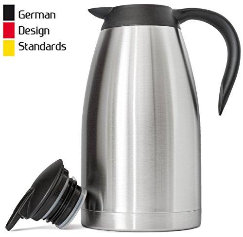 Thermo-Kaffeekaraffe (2 Liter) in deutschem Design, Edelstahl, isoliert, doppelwandig, BPA-frei, Vakuum-Thermos, bis zu 12 Stunden Wärme und 24 Stunden Kälteerhaltung -