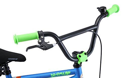 BIKESTAR Bicicletta Bambini 4-5 Anni da 16 Pollici ★ Bici per Bambino et Bambina BMX con Freno a retropedale et Freno a Mano ★ Blu & Verde - 7