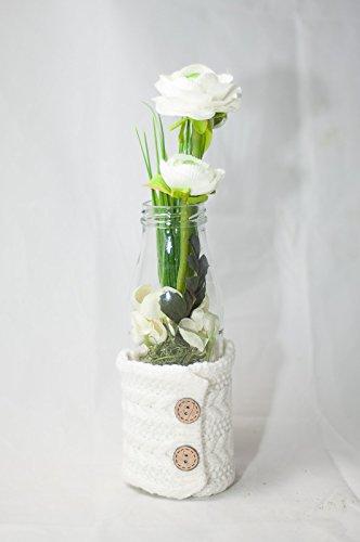 Bottiglia bianco - arredamento floreale,fiori artificiali con vaso