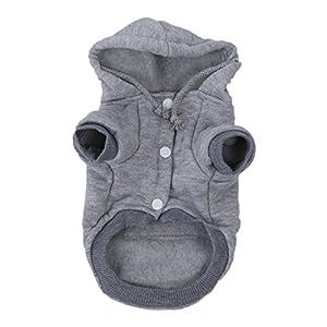 Strickwaren Kleidung fuer Haustier - SODIAL(R) Katzen/ Hunde-Bekleidung Winter Warme Strickhundejacke mit Kapuze Weihnachtswelpen Mantel Kleidung (Grau, S)